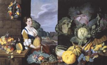 Cookmaid with Still Life of Vegetables and Fruit c.1620-5 by Sir Nathaniel Bacon 1585-1627