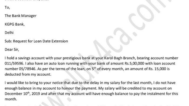 Application Letter to Request for Loan Date Extension