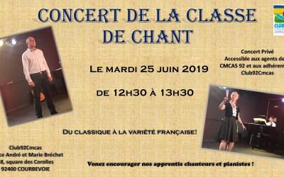 Concert de la classe de chant le 25 juin à 12h30 à l'Espace des Corolles – La Défense