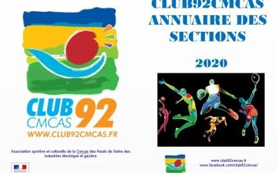 Annuaire Club92Cmcas des sections – Mars 2020