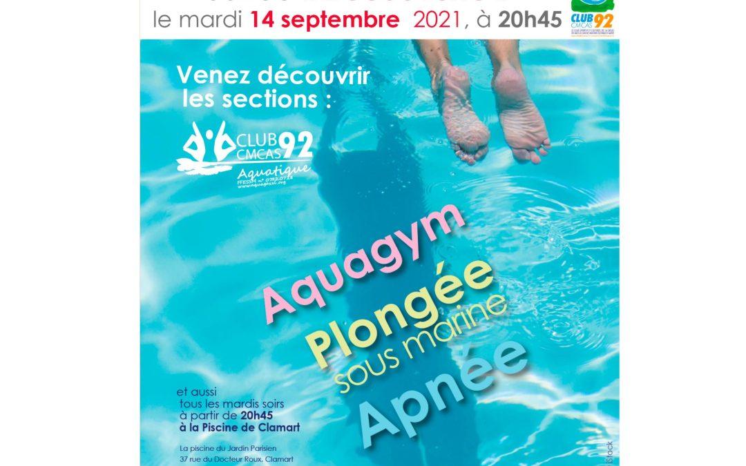 Soirée des découvertes le mardi 14 septembre 2021 à la piscine de Clamart – Venez !