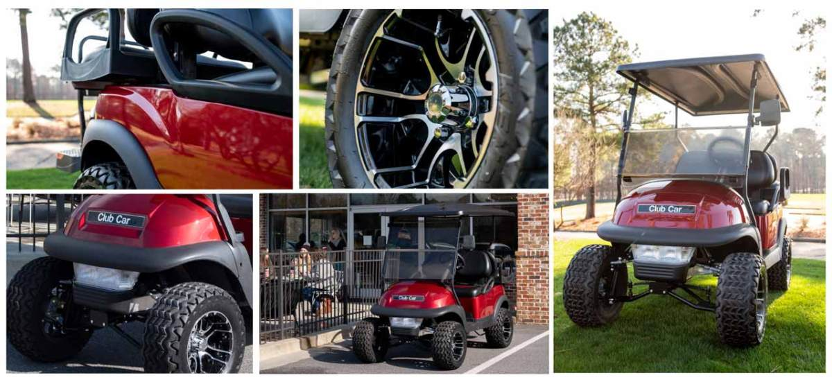 cc v4l lifted golf cart wheels tires seats and windshield 1280x588 1 - V4L - Villager 4 Passenger Lifted