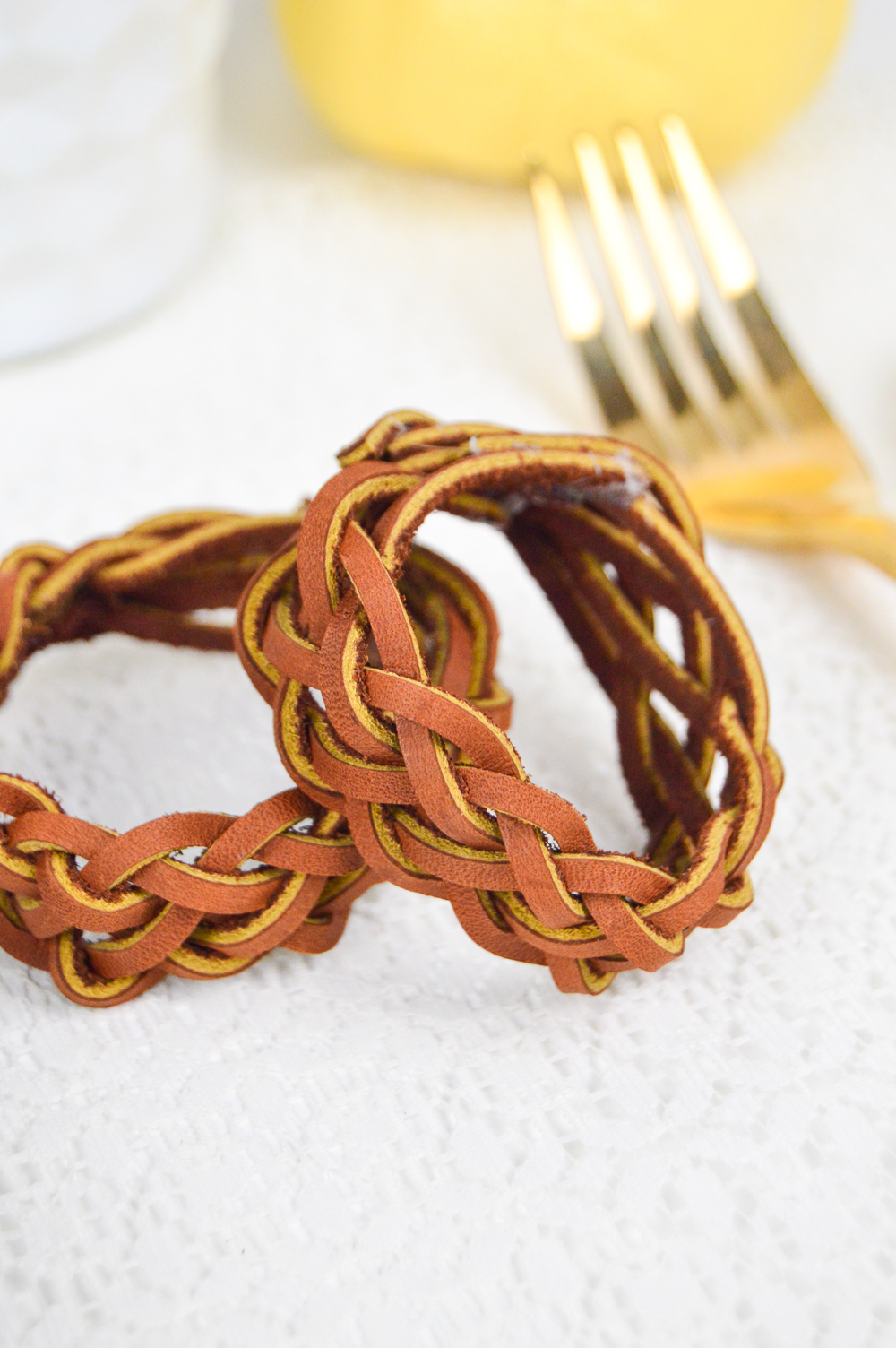 DIY Leather Braided Napkin Rings | Club Crafted