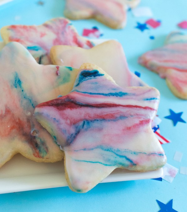 Red, White + Blue Marbled Sugar Cookies for 4th of July   Club Crafted