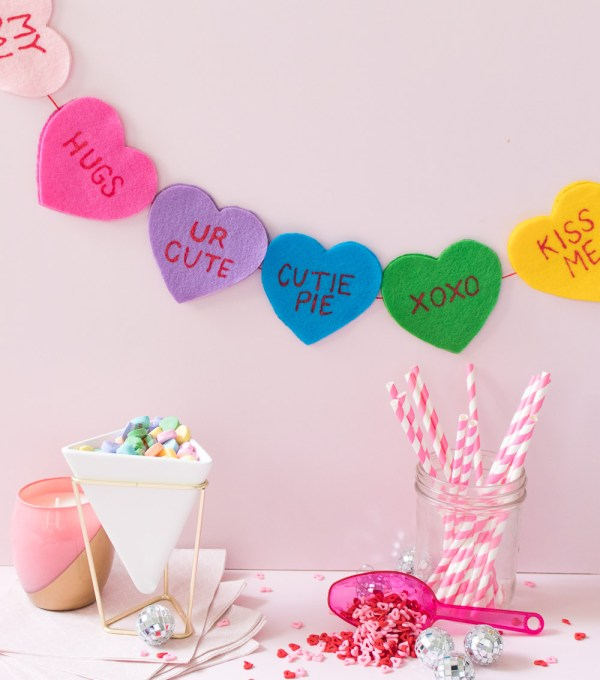 DIY Conversation Heart Banner for Valentine's Day   Club Crafted