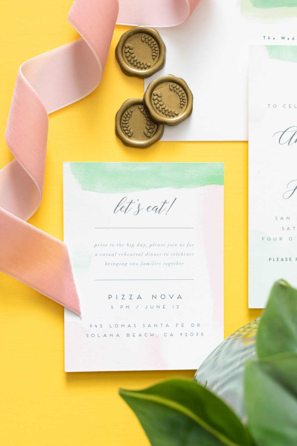 Watercolor wedding rehearsal dinner invitations by Minted