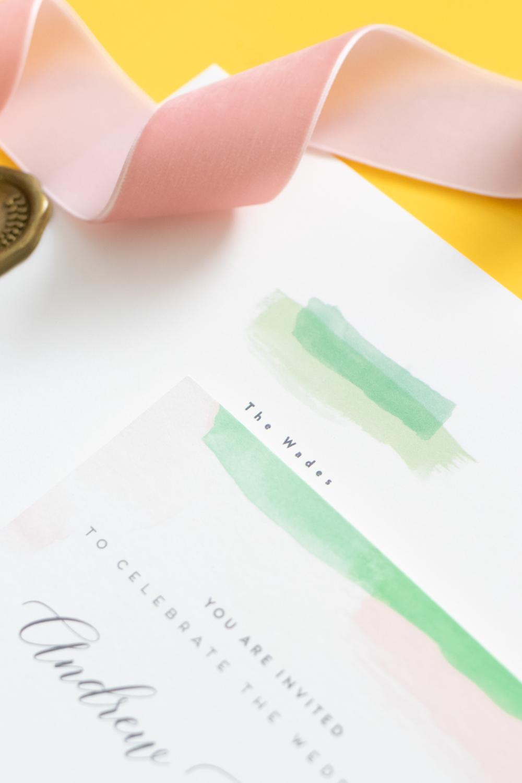 Closeup of watercolor invitation envelope detail