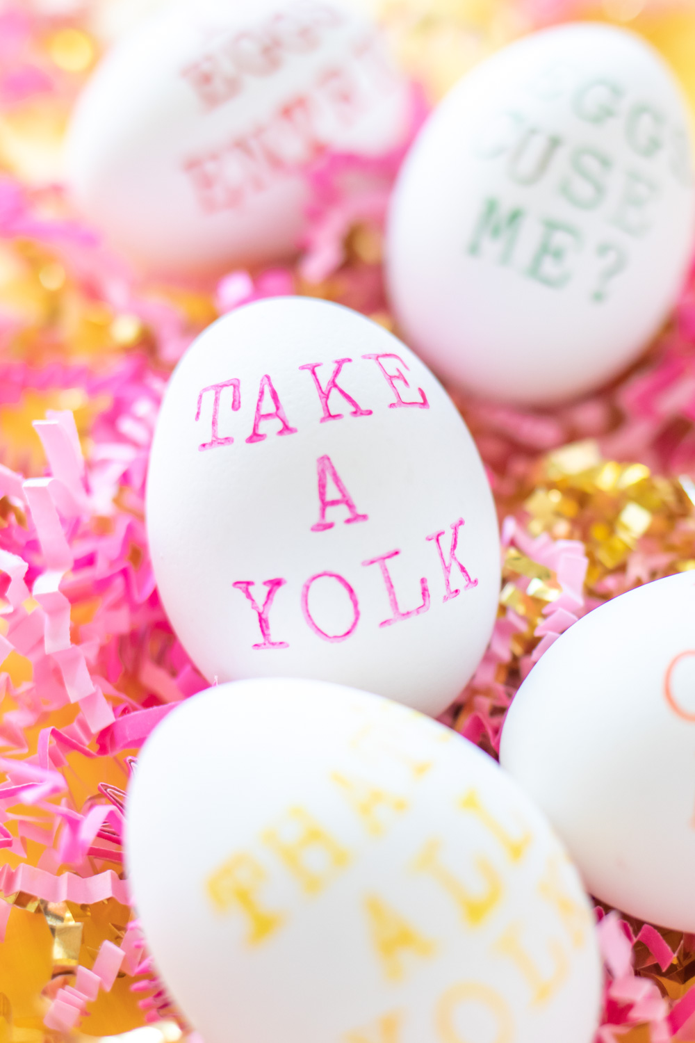 """punny easter egg that says """"take a yolk"""""""