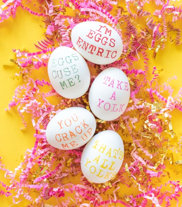 five punny easter eggs on crumpled paper