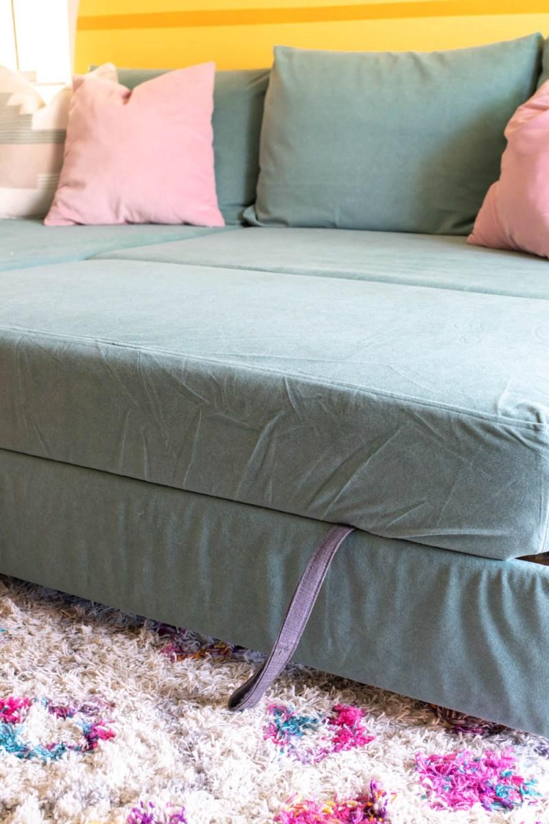 pull-out IKEA Friheten bed with custom slipcover