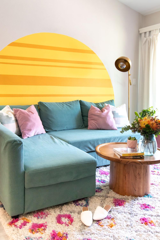 couch makeover on IKEA Friheten sofa in velvet green with mural