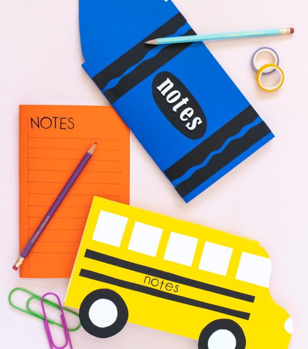 three types of easy paper notebooks with stickers