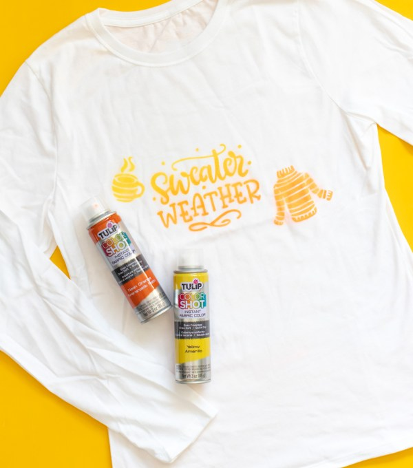 long-sleeve spray paint stenciled t-shirt with paint cans