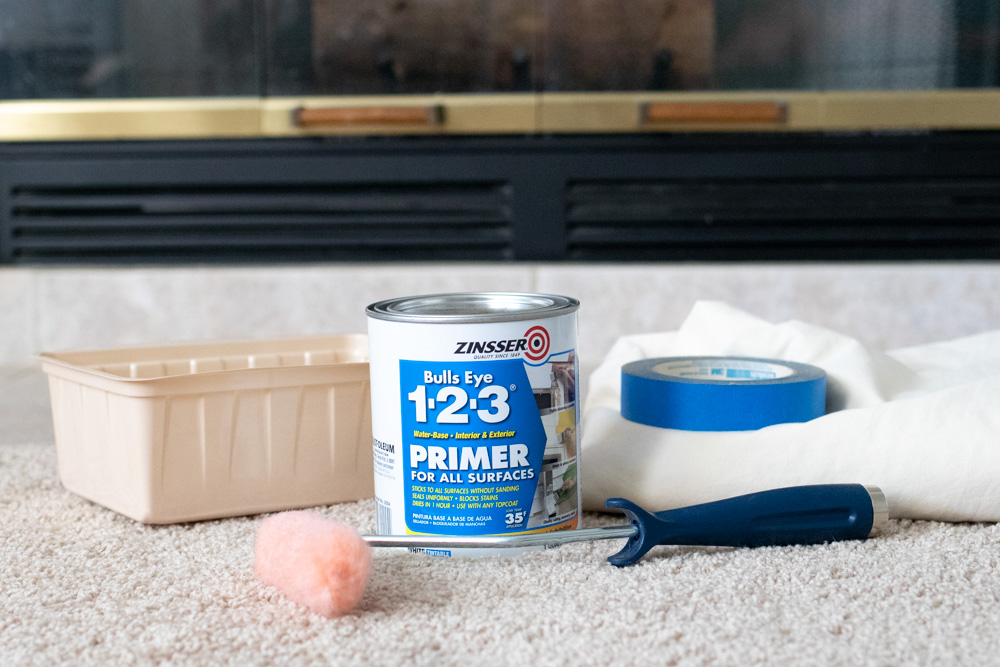 supplies for painting a fireplace tile surround