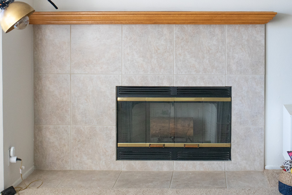 before view of how to paint a tile fireplace