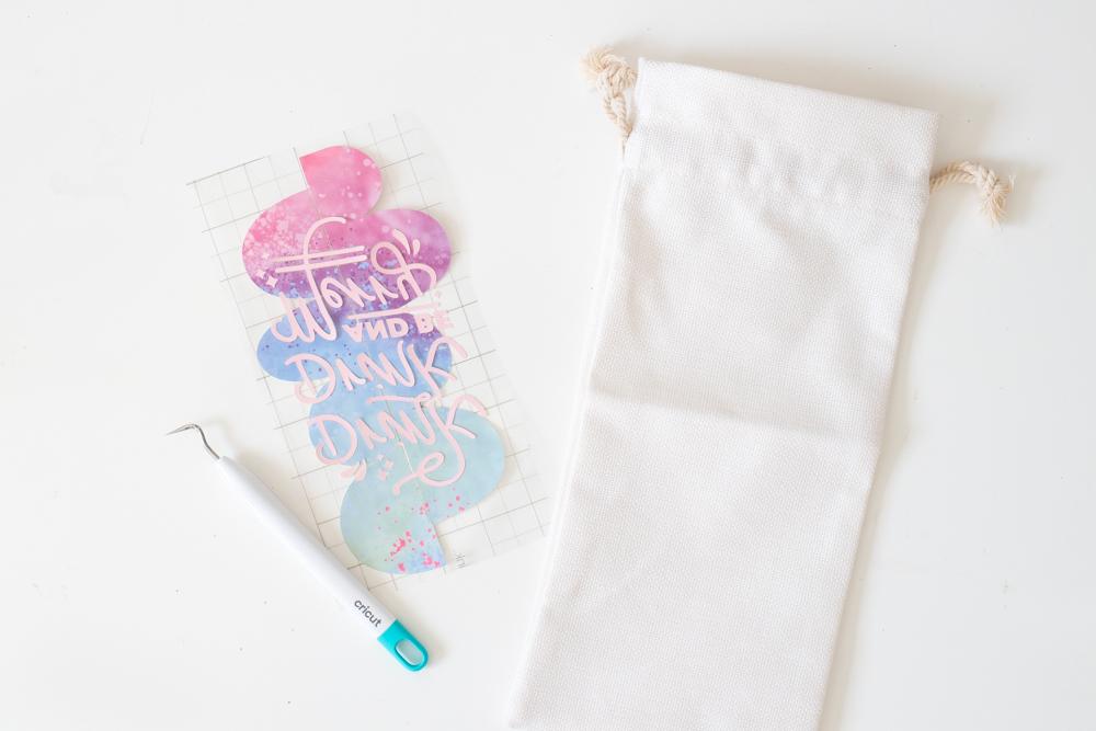 slicing designs together for DIY wine bag packaging