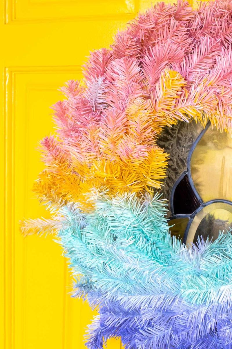 closeup of gradient wreath on bright modernized front door
