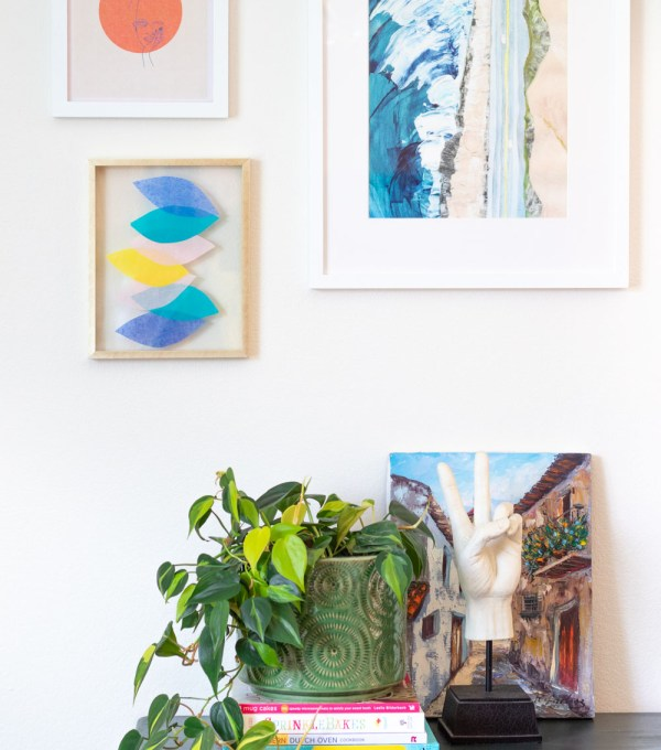 gallery wall with tissue paper wall art