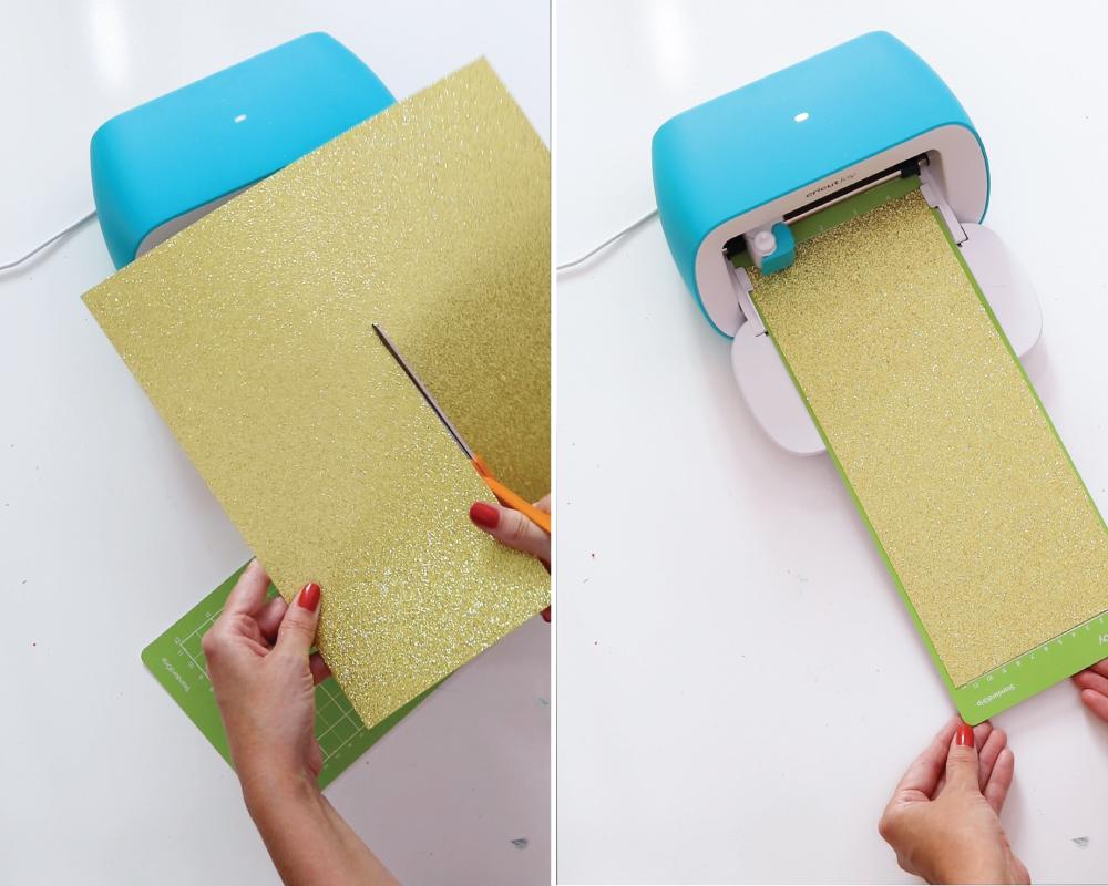 inserting glitter cardstock into Cricut Joy machine