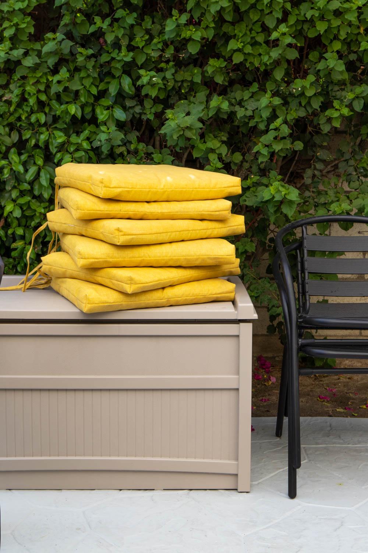 outdoor chair cushions on deck box