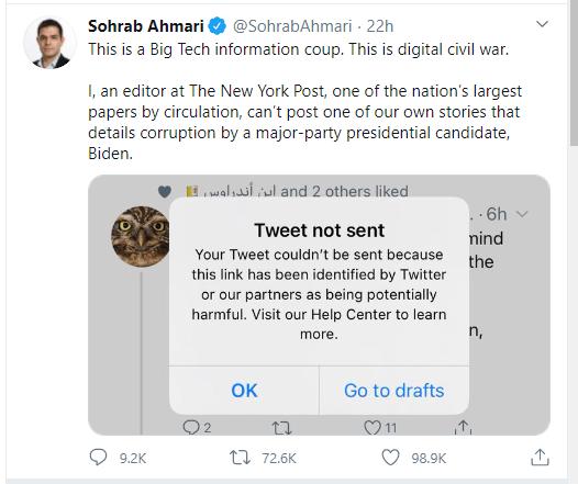 Twitter censura informação que influenciaria eleição