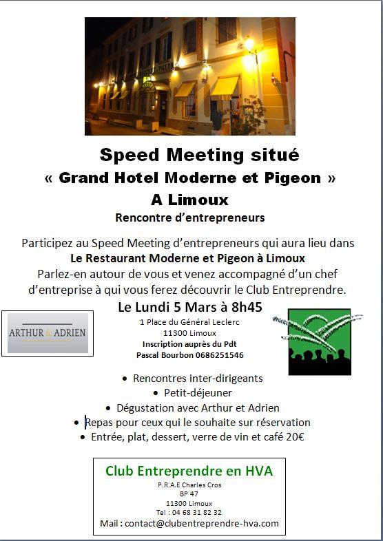 réunion d'entrepreneurs à l'Hôtel Moderne & Pigeon