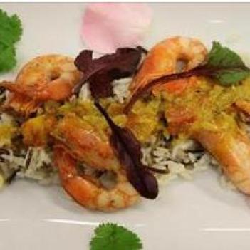 Caril de Camarão com arroz misto