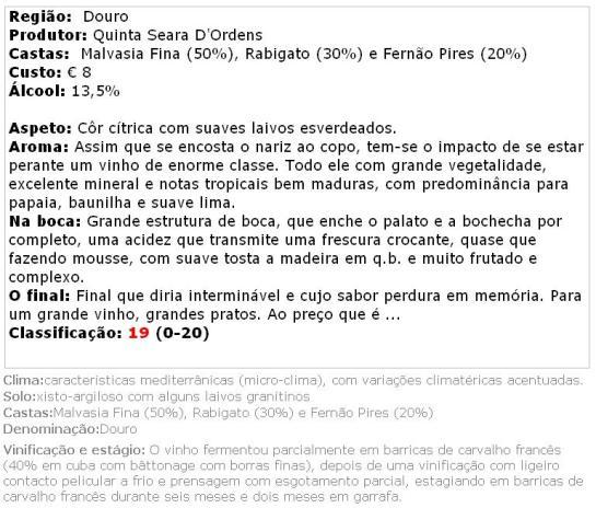 apreciacao Quinta Seara D'Ordens Reserva Branco 2013