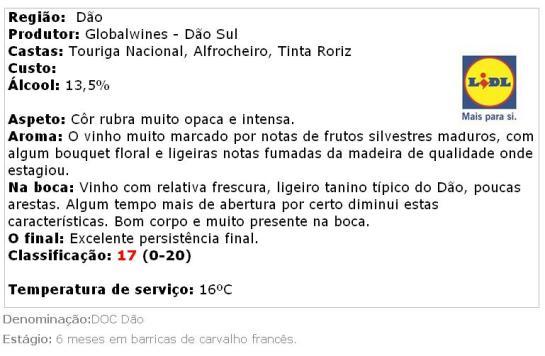 apreciacao TORRE DE FERRO - Vinho Tinto Dão DOC Reserva