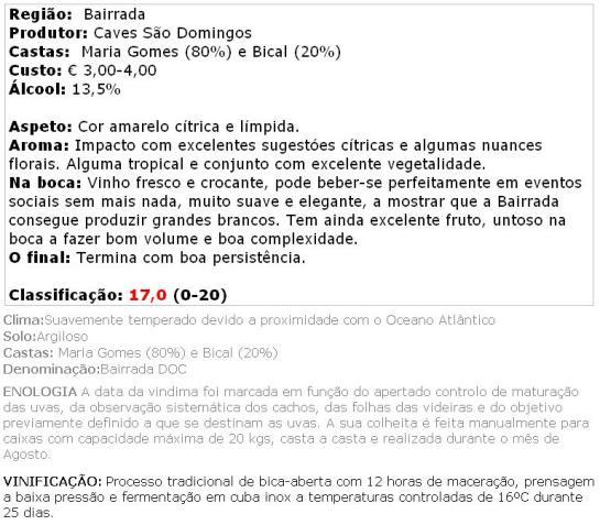 São Domingos Colheita Branco 2012