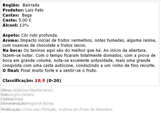 apreciacao Luis Pato Vinha Pan Tinto 2010