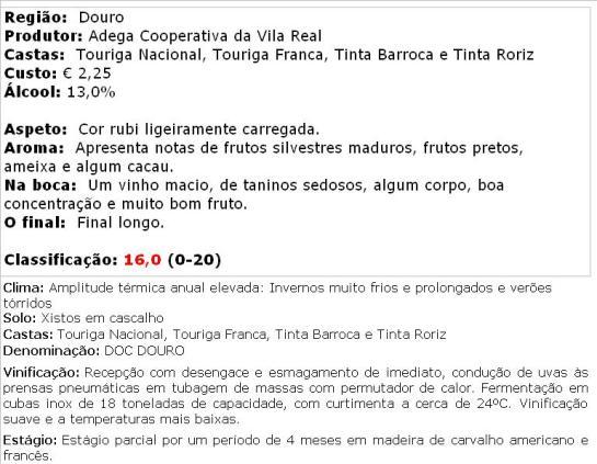 apreciacao Vila Real Tinto 2011