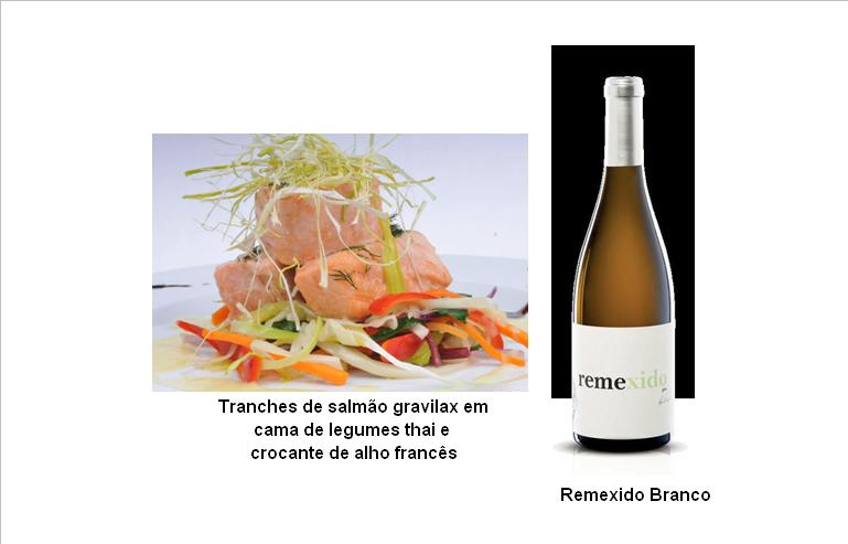 Tranches de salmão gravilax em cama de legumes thai e crocante de alho francês (clique para ampliar)