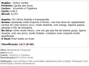 apreciacao Arca Nova Alvarinho Trajadura Branco 2014