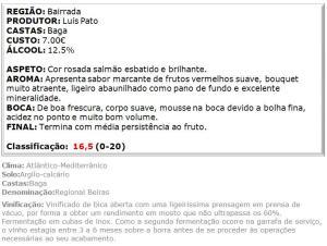 apreciacao Espumante Luis Pato Baga Bruto 2012