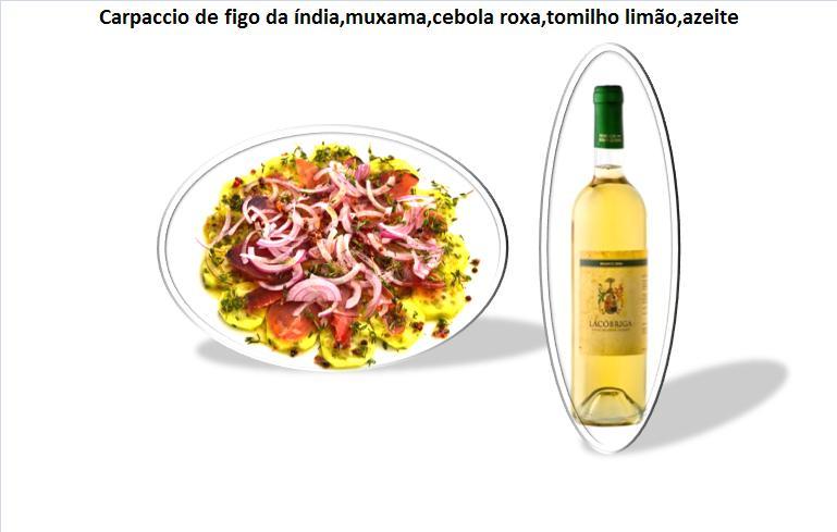 pCarpaccio de figo da índia,muxama,cebola roxa,tomilho limão,azeite