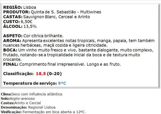apreciacao Quinta de S. Sebastião Branco 2014