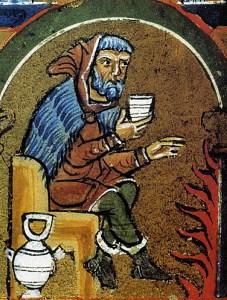 1235-homme-buvant-et-se-rechauffant-psautier-d-hildesheim
