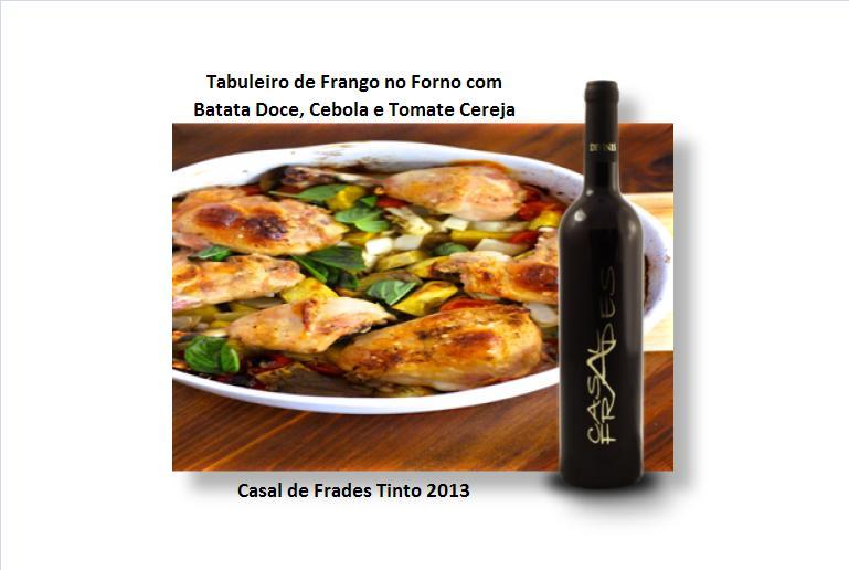 Tabuleiro de Frango no Forno com Batata Doce, Cebola e Tomate Cereja