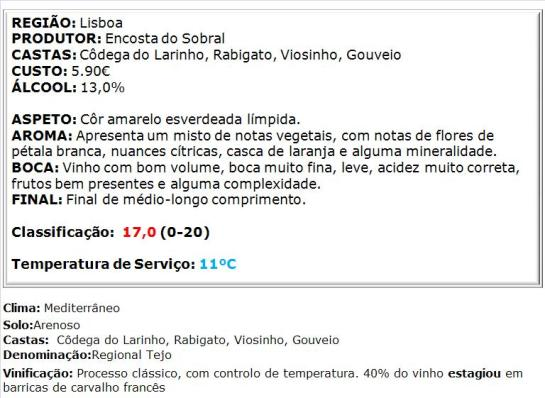 apreciacao Encosta do Sobral Reserva Branco 2013