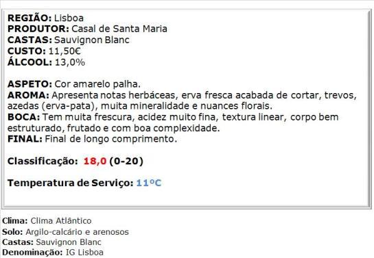apreciacao Casal Sta. Maria Sauvignon Blanc Branco 2014