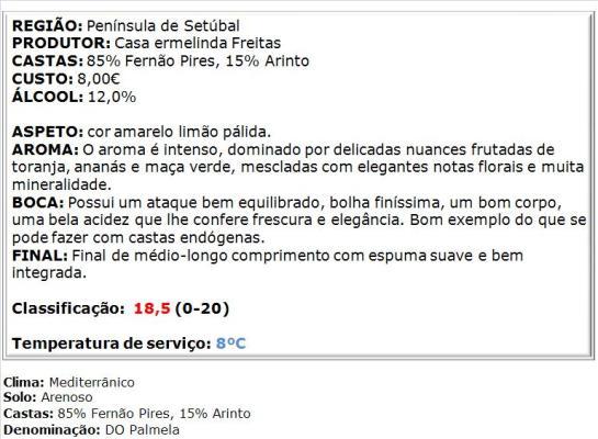 apreciacao Espumante Ermelinda Freitas Bruto Branco 2013