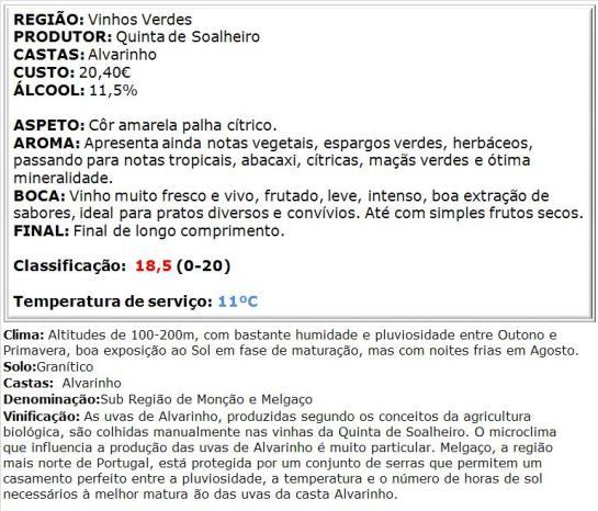apreciacao Soalheiro Terramatter Alvarinho Branco 2014