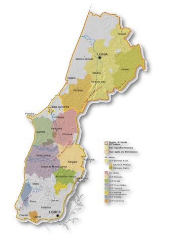 Mapa da Região de Vinhos de Lisboa (clique para ampliar)