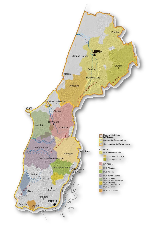 mapa região lisboa MAPA RV LISBOA | Clube de Vinhos Portugueses mapa região lisboa
