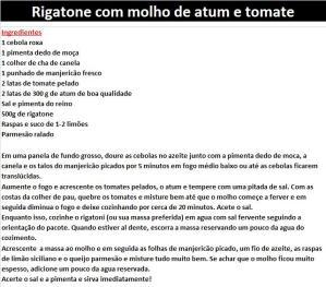 rpRigatone com molho de atum e tomate