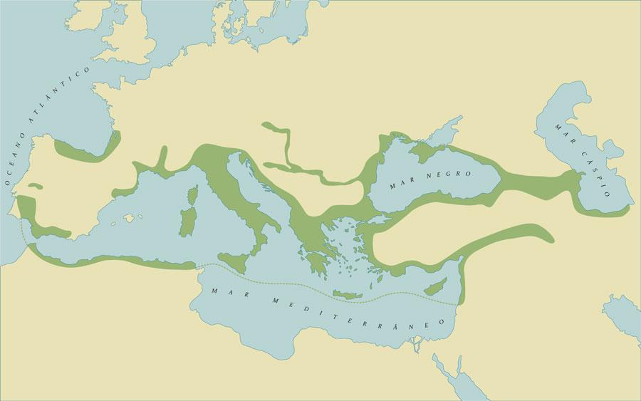 Entrepostos de receção de vinho ao longo do Mediterrâneo