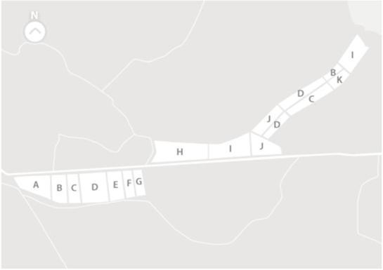 MAPA DAS CASTAS Vinha Nova >  A - Petit Verdot | B - Syrah | C - Touriga Nacional |  D - Alicante Bouschet | E - Antão Vaz | F - Chardonnay | G - Verdelho Vinha Velha >  B - Syrah | C - Touriga Nacional | D - Alicante Bouschet | H - Trincadeira | I - Castelão | J - Aragonez | K - Cabernet Sauvignon