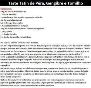 Tarte Tatin de Pêra, Gengibre e Tomilho