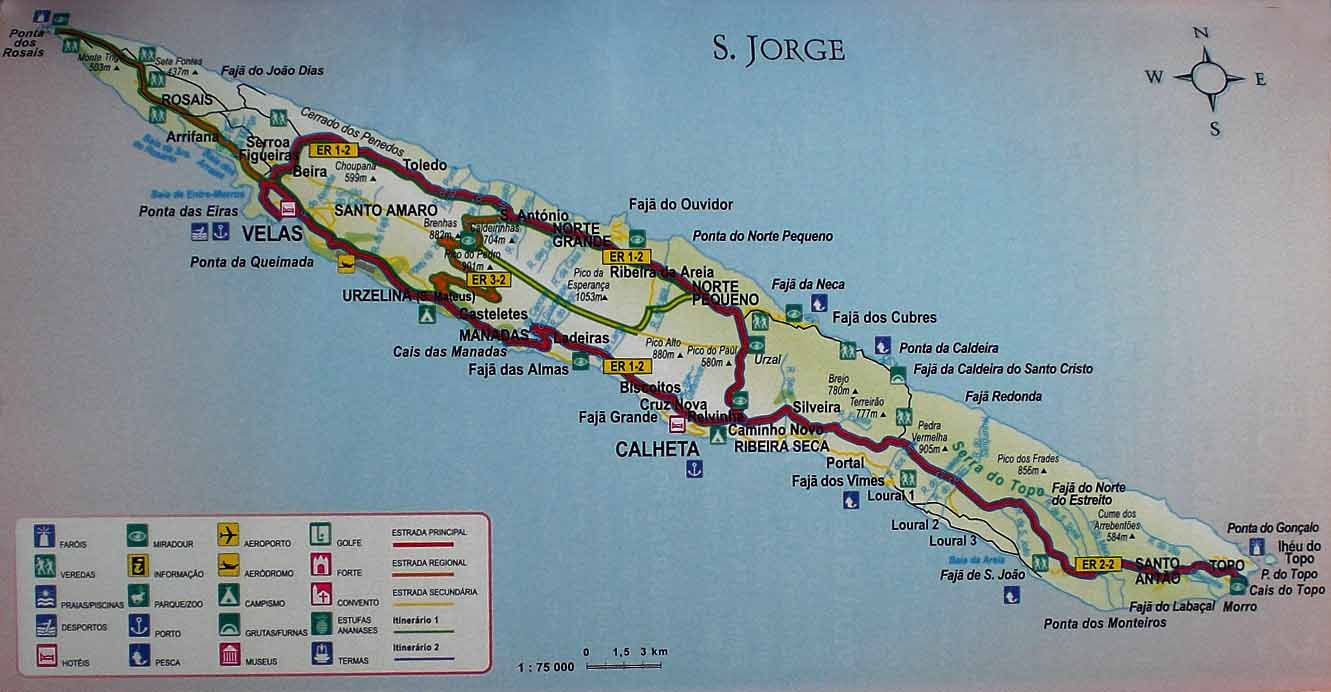 mapa de s jorge açores mapa sao jorge | Clube de Vinhos Portugueses mapa de s jorge açores